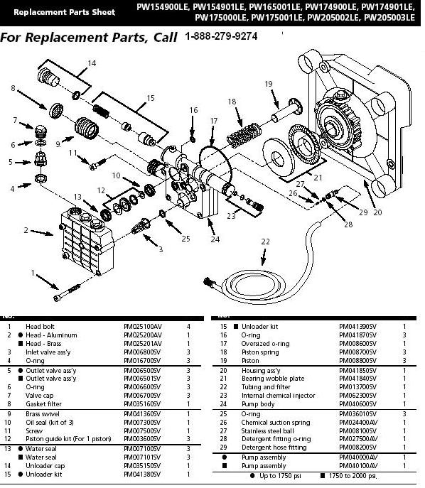 Campbell Hausfeld PW175015LE pressure washer pump replacment parts