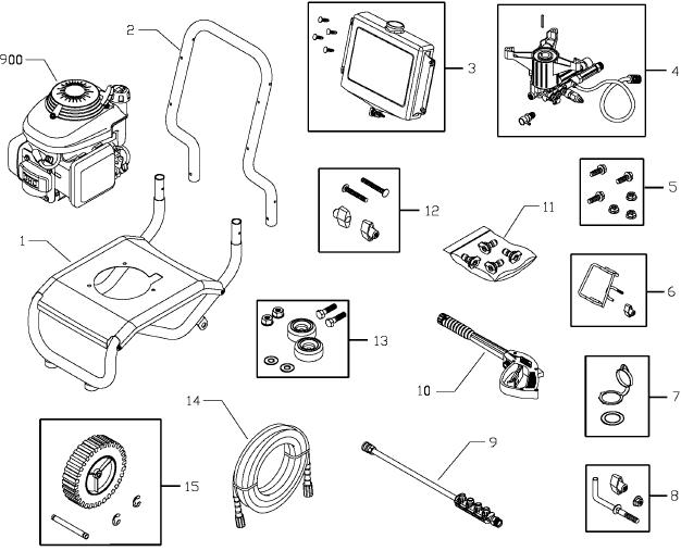 sears/craftsman pressure washer model 020278-0 breakdown & parts