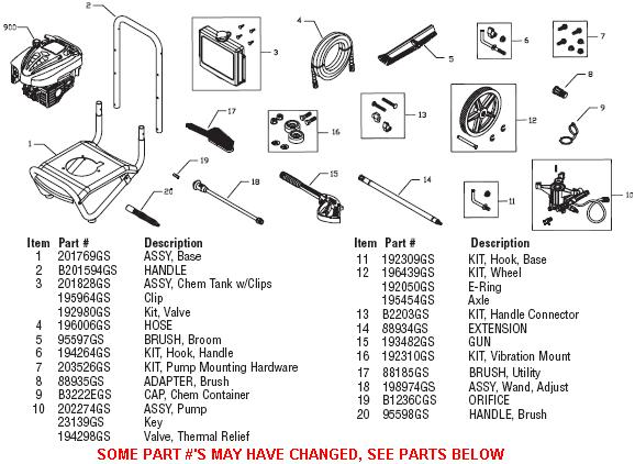 BRUTE 020291-2 pressure washer replacement parts