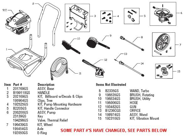 BRUTE 0202300 pressure washer replacement parts