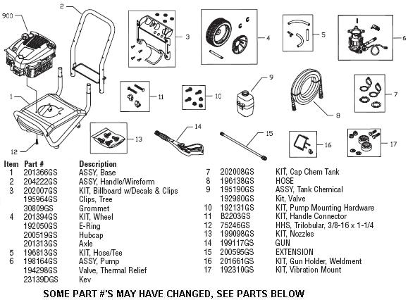 Troy-Bilt 020316 pressure washer replacement parts