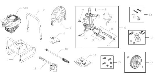 Briggs & Stratton 020426 Pressure Washer replacement Parts, Pump, Breakdown & Owners Manual
