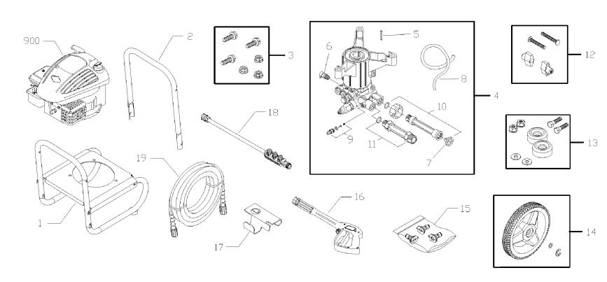 Briggs & Stratton Brute 020450-1 Pressure Washer replacement Parts, Pump, Breakdown & Owners Manual