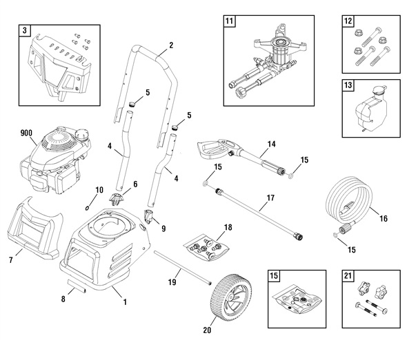 TROY-BILT 020641 Pressure Washer Replacement Parts, Pump, Breakdown & owners manual