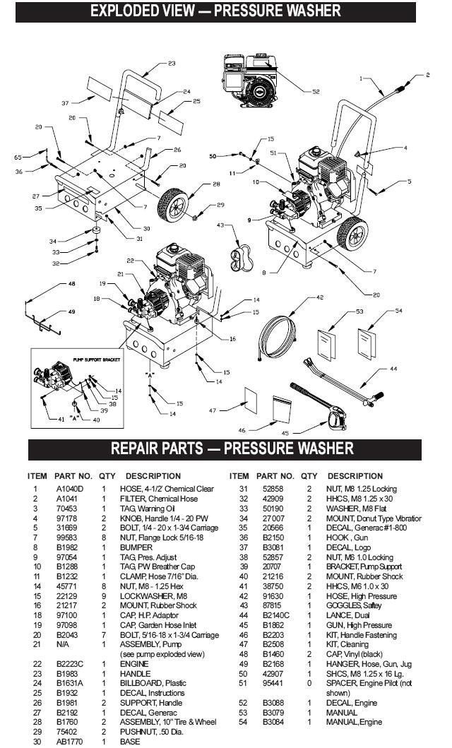 generac pressure washer model 1043-1 breakdown & parts