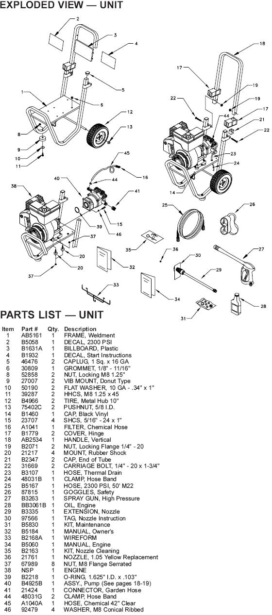 Generac Pressure Washer Model 1200 0 Replacement Parts