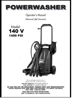 140V Electric Power Washer Replacement Parts & Owners Manual
