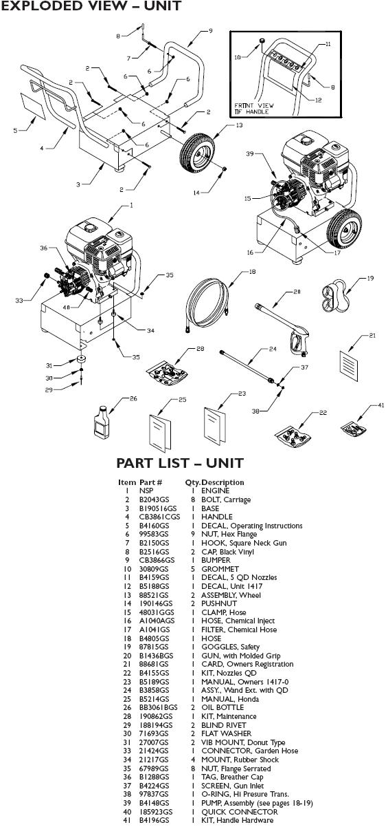 Generac Pressure Washer Model 1417 0 Replacement Parts