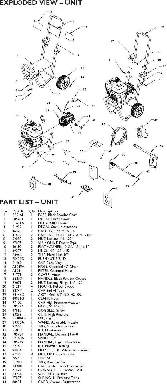 honda excell pressure washer parts