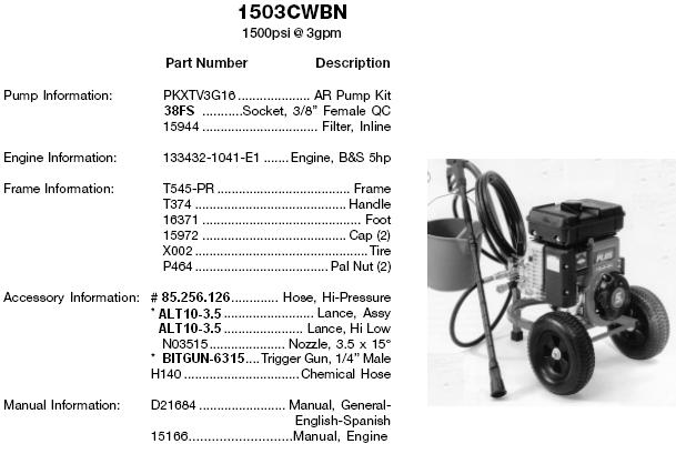 EXCELL Pressure washer model 1503cwbn (AR) REPLACEMENT PARTS