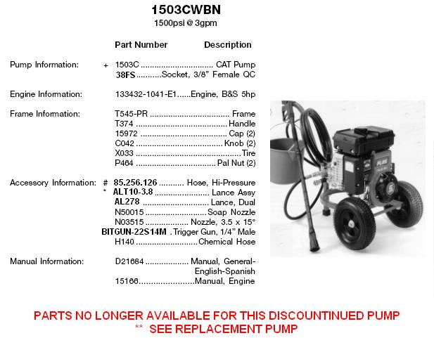 EXCELL pressure washer model 1503cwbn (cat) replacement parts