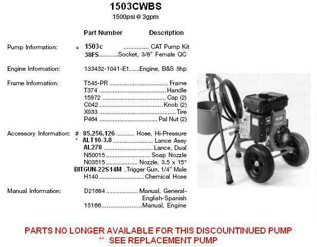 devilbiss pressure washer model 1503CWBS (1503C) REPLACEMENT PARTS & UPGRADE PUMP