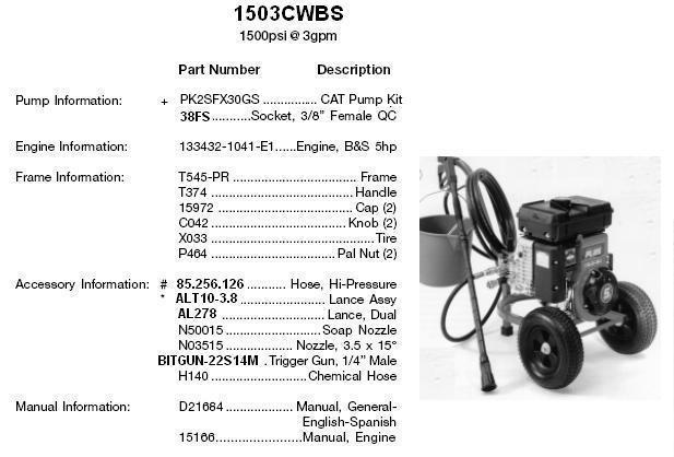 devilbiss pressure washer model 1503cwbs (cat ) replacement parts