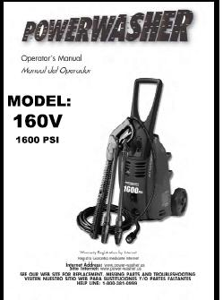 160V Electric Power Washer Replacement Parts & Owners Manual
