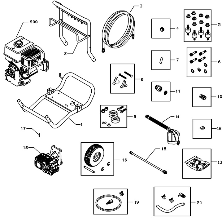 Troy-bilt Pressure washer model 1905 replacement parts and repair kits