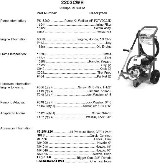 Excell 2203CWH pressure washer parts