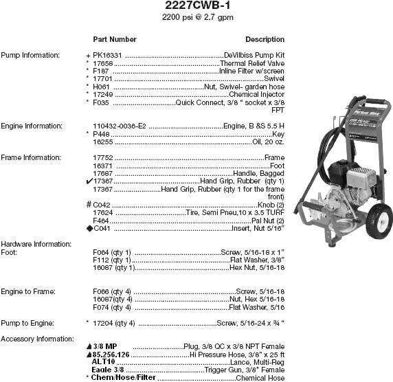 Excell 2227CWB-1 pressure washer parts