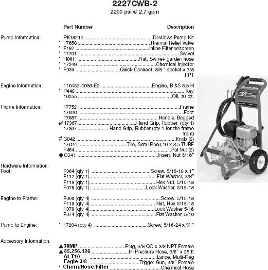 Excell 2227CWB-2 pressure washer parts