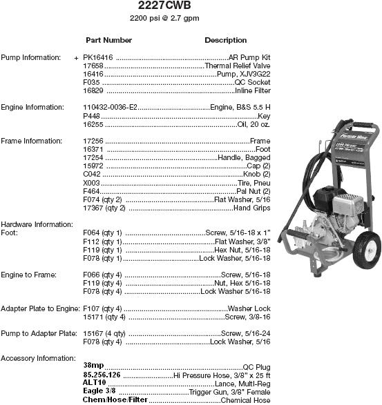 Excell 2227CWB pressure washer parts