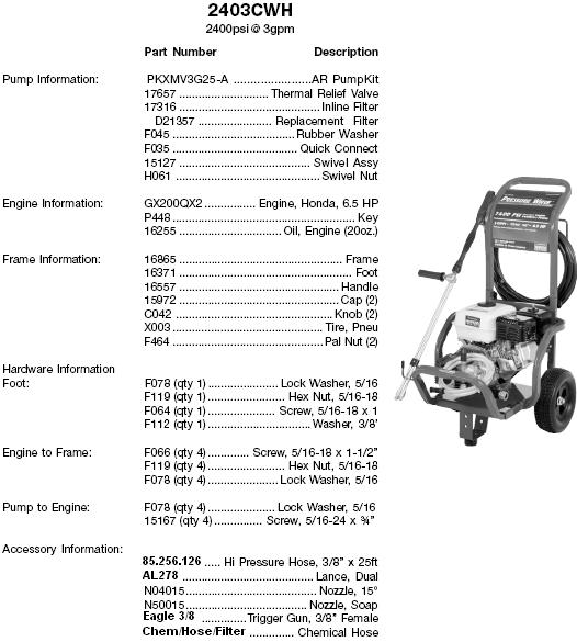 Excell 2403CWH pressure washer parts