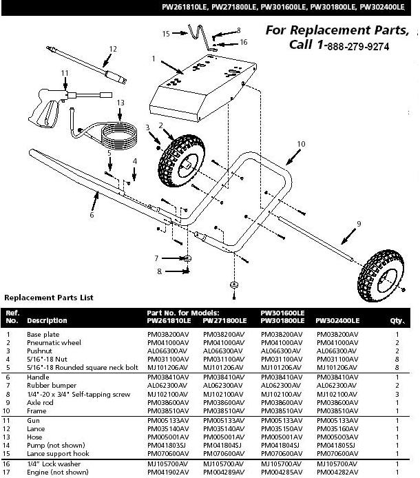 Campbell Hausfeld PW271800LE pressure washer replacment parts