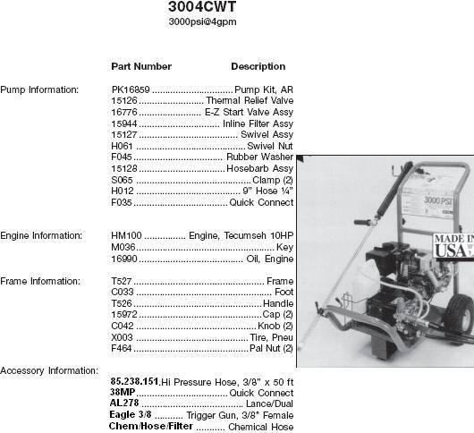 Excell 3004CWT pressure washer parts