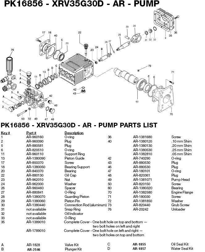 Excell 3004CWTW pump parts