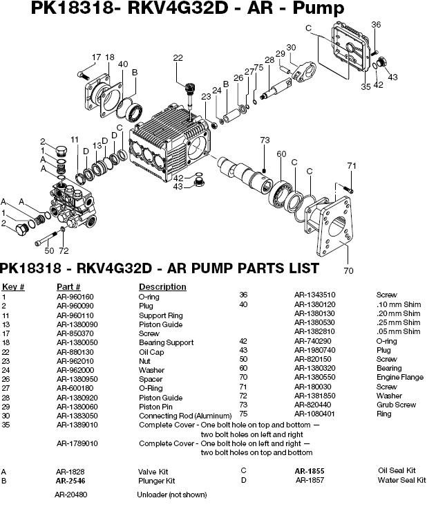 Excell 3204CWH-2 pump parts