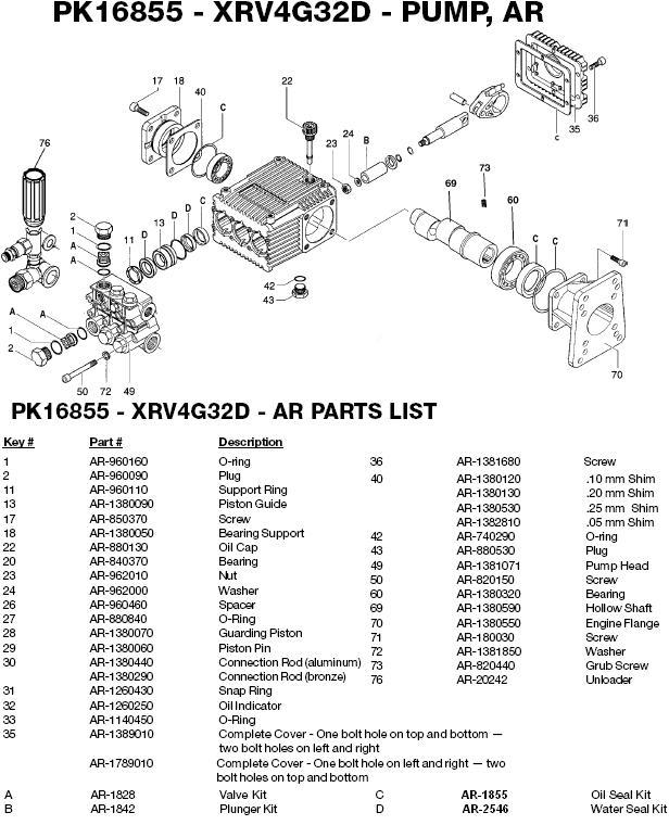 Excell 3254CWH pump parts
