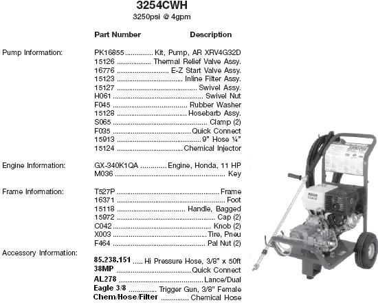 Excell 3254CWH pressure washer parts