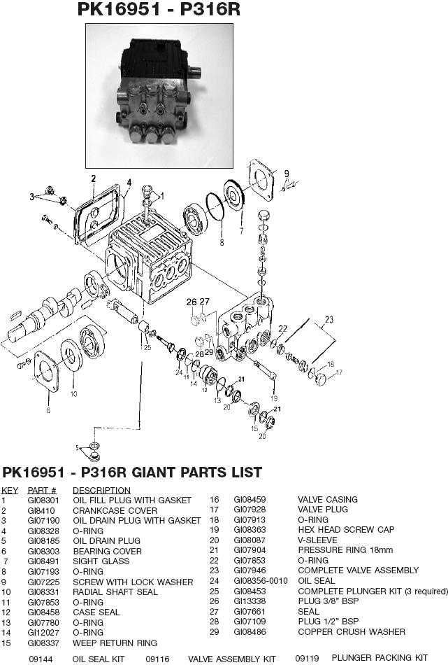 Excell 3504CWHBD-1 pump parts