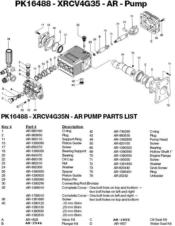 Excell 3540CWHP pump parts