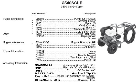 Excell / Devilbiss 3540SCHP pressure washer parts