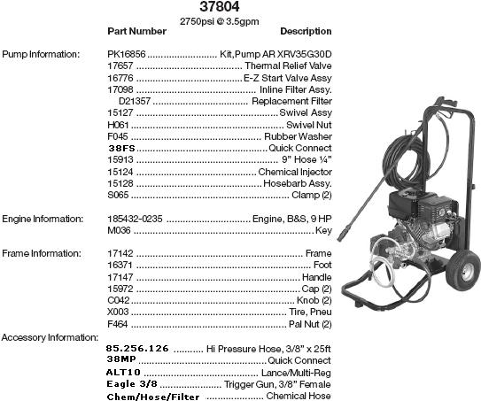 Excell 37804 pressure washer parts