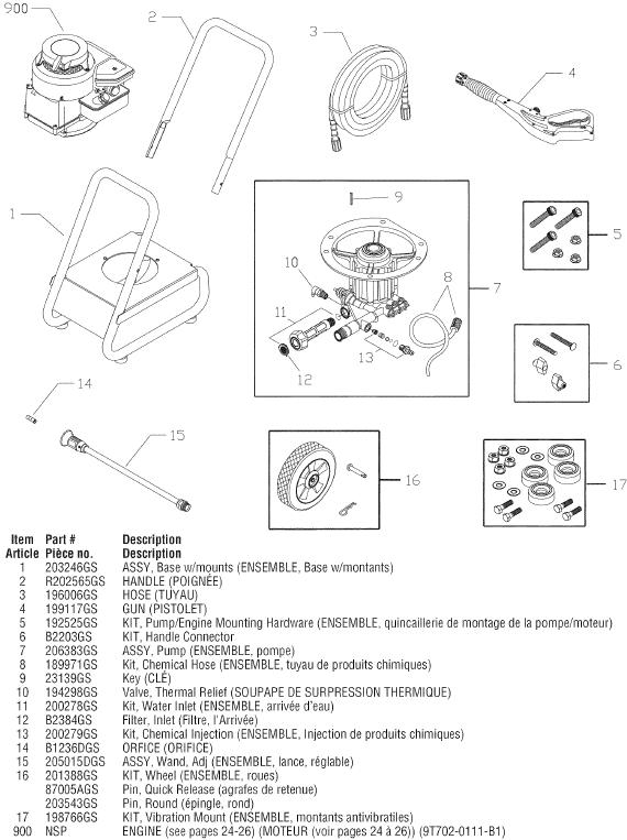 Sears Craftsman 580676621 pressure washer replacement parts