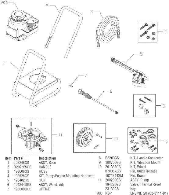SEARS CRAFTSMAN 580752030 PRESSURE WASHER REPLACEMENT PARTS