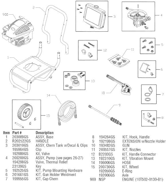 SEARS CRAFTSMAN 580752040 PRESSURE WASHER REPLACEMENT PARTS