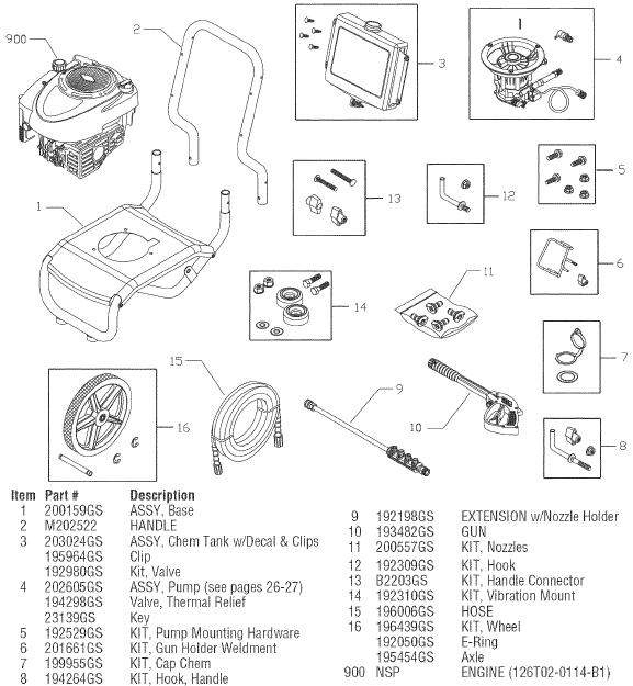 SEARS CRAFTSMAN 580752050 PRESSURE WASHER REPLACEMENT PARTS
