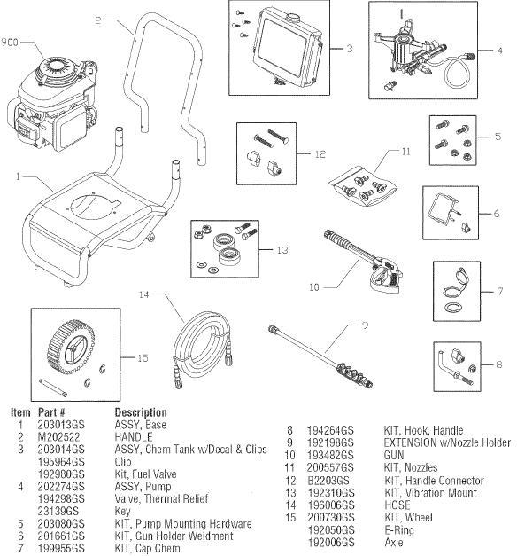 SEARS CRAFTSMAN 580752060 PRESSURE WASHER REPLACEMENT PARTS