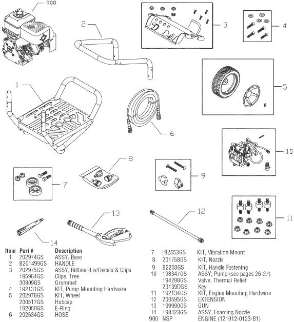 SEARS CRAFTSMAN 580752080 PRESSURE WASHER REPLACEMENT PARTS