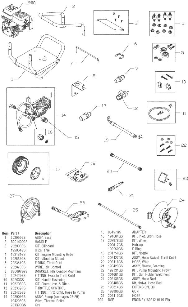 sears craftsman 580752090 pressure washer replacement parts