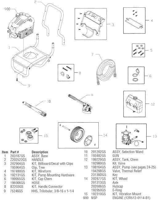 sears craftsman 580752100 pressure washer replacement parts