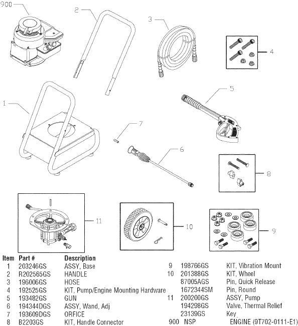 sears craftsman 580752110 pressure washer replacement parts