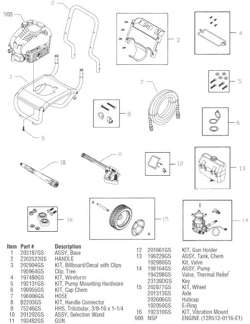 sears craftsman 580752160 pressure washer replacement parts