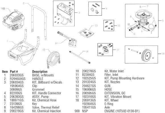 sears craftsman 580752181 pressure washer replacement parts