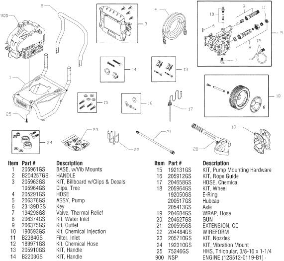 sears craftsman 580752211 pressure washer replacement parts