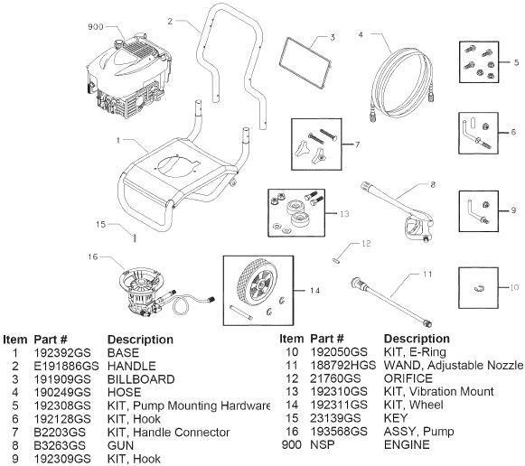 sears craftsman 580752310 pressure washer replacement parts