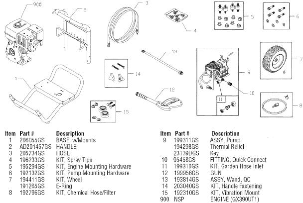 Sears Craftsman 580752380 pressure washer replacement parts