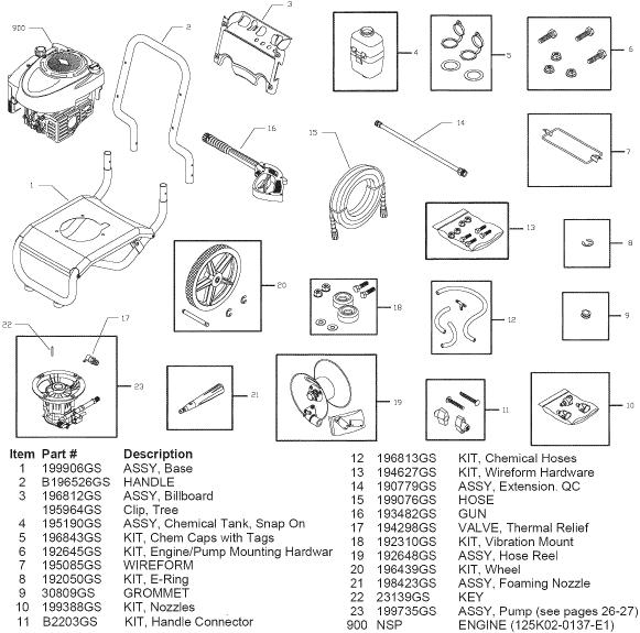 SEARS CRAFTSMAN 580752722 PRESSURE WASHER REPLACEMENT PARTS