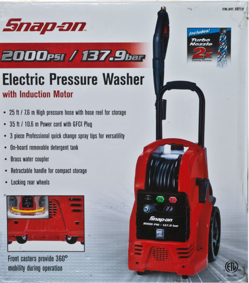 692024 Snap-on pressure washers combine the most advanced features with the performance and durability expected of Snap-on. Perfect for small to medium cleaning jobs, the Snap-on Electric Pressure Washer generates 1,650 PSI of water pressure and offers adjustable flow and spray pattern, making it ideal for cleaning RV's, motorcycles, ATVs, boats, trailers, decks, barbeques, siding and more.